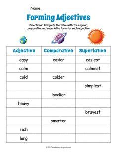 adjective worksheets images worksheets