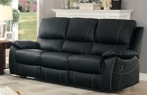 black leather reclining sofa homelegance greeley top grain black leather double