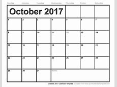 October 2017 Calendar Template calendar printable free