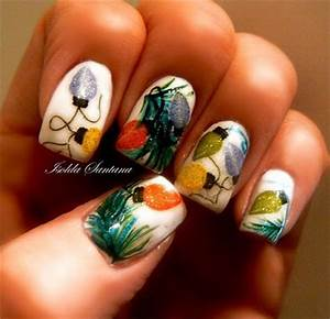Christmas Light Nail Art Designs & Ideas 2013 2014