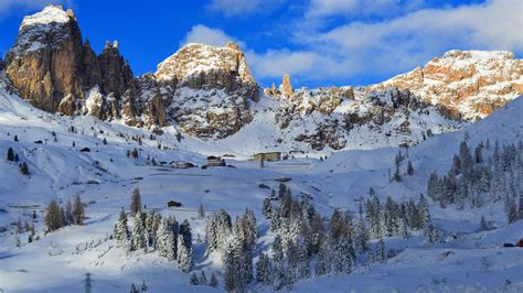 wallpaper dolomites alps mountains snow winter trees