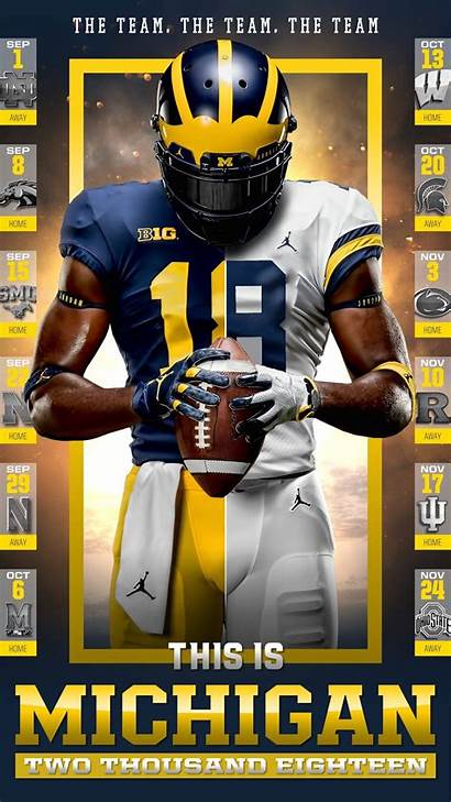 Michigan Football Schedule Wolverines College American Poster