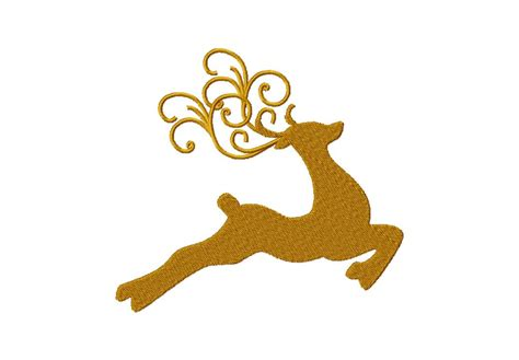 decorative reindeer machine embroidery for gold members