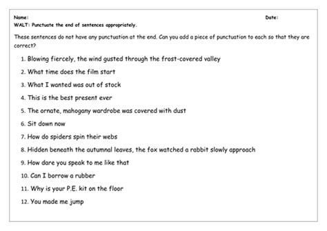 spag worksheet stops question and exclamation marks