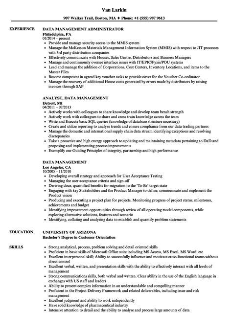 Data Management Resume Sle by Data Management Resume Sles Velvet