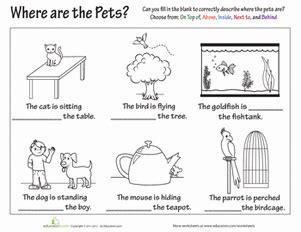 preposition worksheets free printables education com
