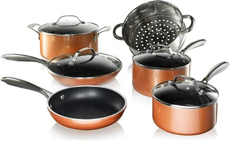 gotham steel copper cast textured nonstick  piece pots  pan cookware set ebay