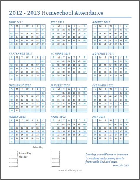 printable homeschool attendance calendar