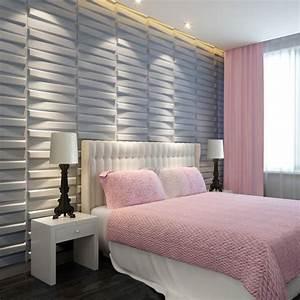 Tapete Von Rigips Lösen : wandgestaltung dekorative paneele wei 3d schlafzimmer einbauleuchten decke effekte idee ~ Orissabook.com Haus und Dekorationen