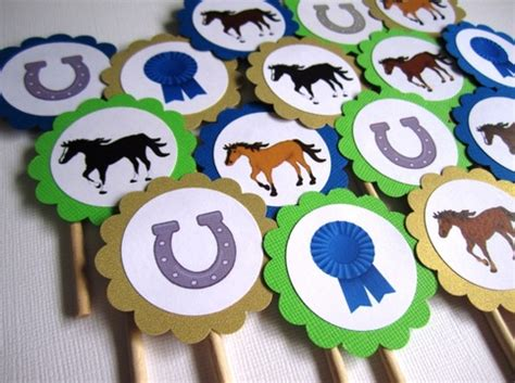 horse kentucky derby cupcake toppers  storenvy