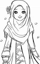 Muslim Coloring Pages Islamic Drawing Hijab Cartoon Printable Islam Sketches Colouring Muslimah Anime Gambar Sheets Princess Kartun Cool Drawings Sketch sketch template