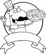 Pizza Coloring Chef Pages Italian Drawing Printable Male sketch template
