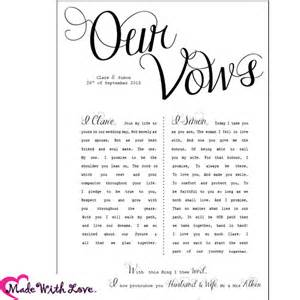 wedding gift ideas second marriage wedding vows printed with your personal wording