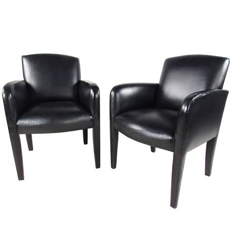 pair of vintage leather side chairs by donghia for sale at