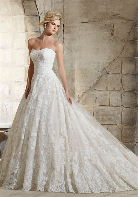 Delicate Beaded Lace On Tulle Wedding Dress Style 2787