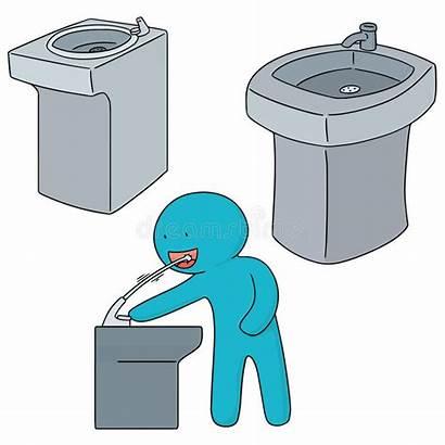 Fountain Water Drinking Vector Illustration Boy Clipart