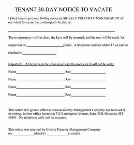 11 30 day notice templates sample templates With renters 30 day notice template