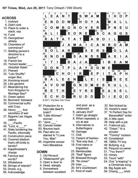york times crossword  gothic june