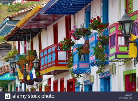 Colonial Architectural Details With Colorful Balconies And