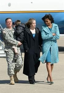 First Lady Michelle Obama walks with Krissondra Rydzel ...