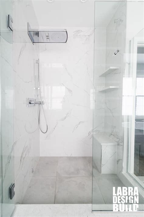white marble shower master bathroom remodel labra design