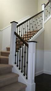 Iron Stair Case With Wood Detail   Iron Staircase  Custom