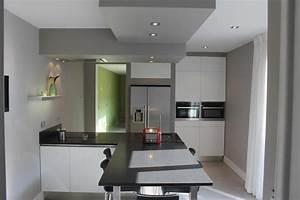 faux plafond de platre pour la decoration de cuisine With awesome couleur de peinture pour une entree 13 cuisine ouverte sur salle salon et entree