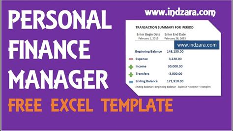 personal finance manager  excel budget template