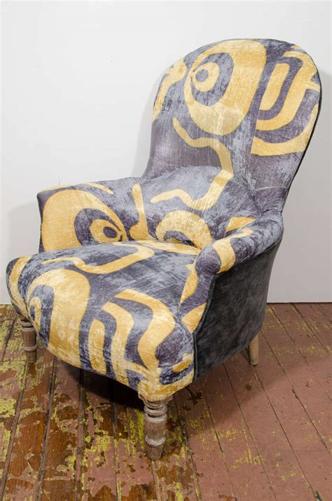 indian upholstered yellow and grey arm chair at 1stdibs