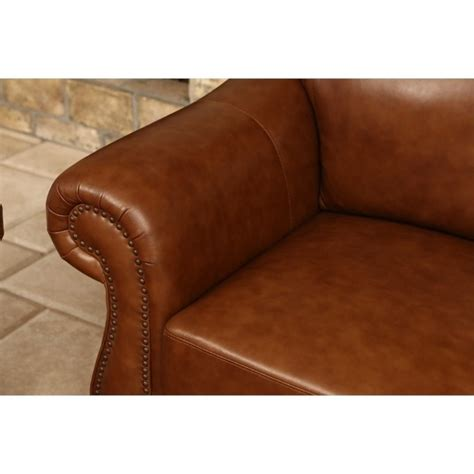 abbyson living erickson leather sofa set in camel brown