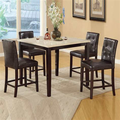 cream brown faux marble table espresso chairs counter height kitchen dining set ebay