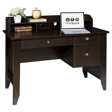 42 wide computer desk onespace 50 1617 executive desk with hutch and usb