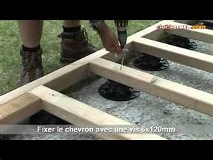 installation de terrasse bois sur plots reglables youtube With terrasse en bois sur plot