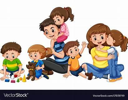 Parents Playing Children Five Vector Clipart Clip