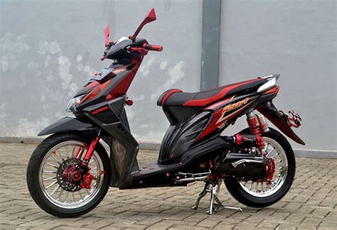 Modifikasi Honda Beat Fi by Foto Modifikasi Honda Beat Fi Hitam Paling Keren Dan Trendi