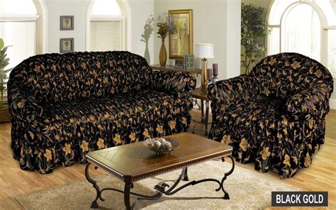 Gold Settee by Jacquard Black Gold Sofa Cover Settee Slip Cover 1 2