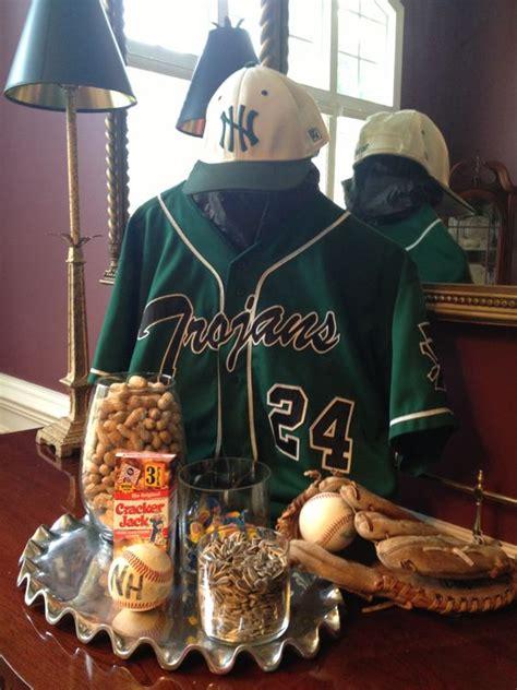 graduation table decorations for guys baseball centerpiece high school graduation ideas