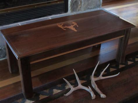 Coffee table coffee table skull arizona custom wood designs, source: Buy Hand Crafted Custom Coffee Table- Walnut Coffee Table With Deer Antler Inlay, made to order ...