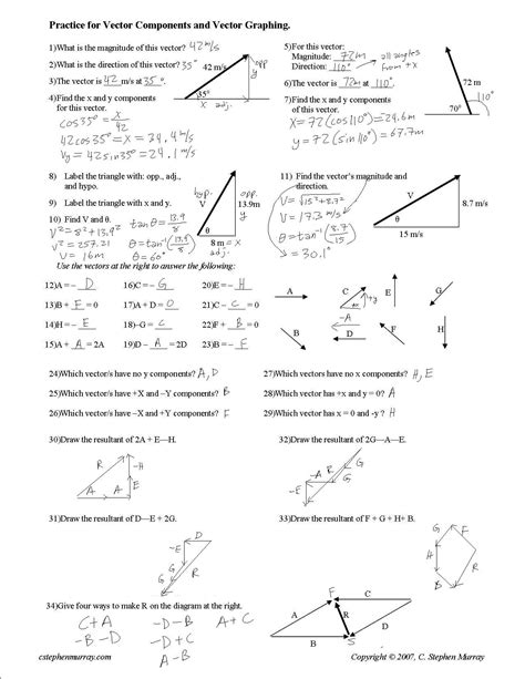 vector addition and subtraction physics worksheet