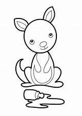 Kangaroo Coloring Baby Pages Craft Preschool Cute Pouch Letter Crafts Joey Animal Netart Child Easy Kangaroos Disney Giraffe Visit Daycare sketch template