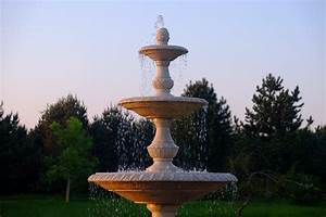 Grand, Triple, Tier, 4m, Golden, Marble, Stone, Water, Fountain, Feature