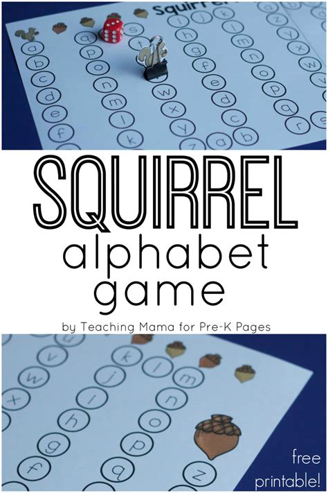 squirrel alphabet for fall pre k pages 363 | Squirrel Alphabet Game Pin