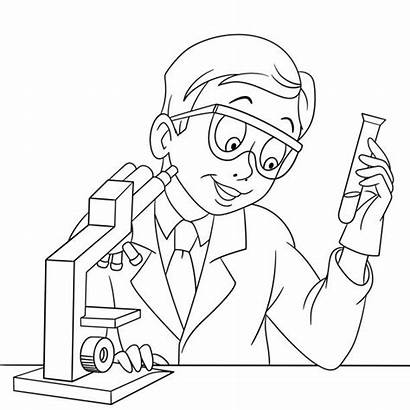 Coloring Scientist Pages Chemistry Cartoon Chemical Vector