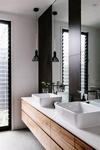 charmant meuble salle de bain design double vasque avec With salle de bain design avec planche pour vasque