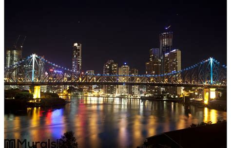 Bedroom Wall Brisbane by Story Bridge And Brisbane City Center Wall Mural