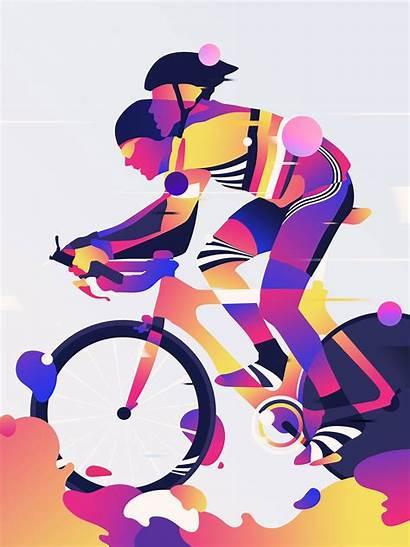 Bram Vanhaeren Illustrations Fietsplezier Vibrant Behance Ciclismo