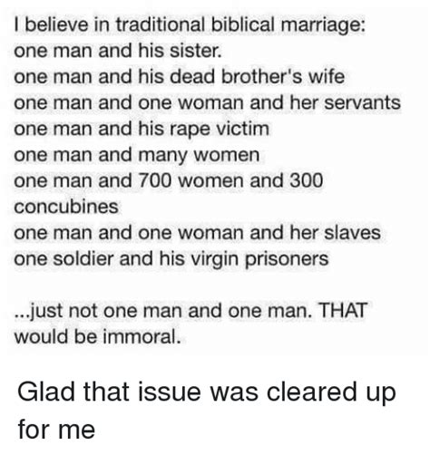Traditional Marriage Meme - i believe in traditional biblical marriage one man and his sister one man and his dead brother s