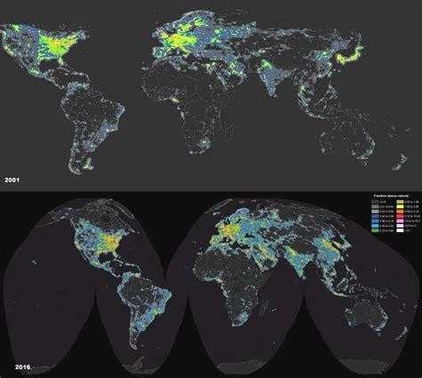 Carte De Pollution Nocturne by Sant 233 Animaux Plantes La Pollution Lumineuse Un Vrai