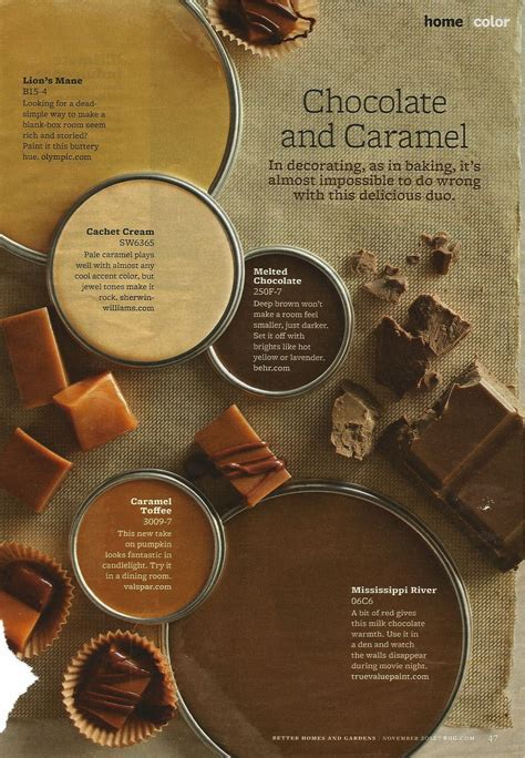 Chocolate and caramel color scheme   BHG November 2012