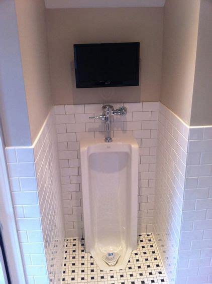 ultimate man cave bathroom full length urinal  flat